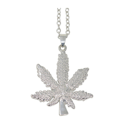 Silver stylish party necklace fashion item fashion accessory in a weed pot design with a chain and weed leaf pendant