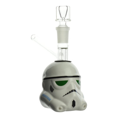 Full shot of 4 inch bubbler body with the look and shape of Star Wars storm trooper head facing right bowl on top