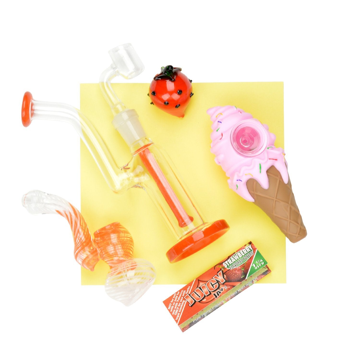 Cute set of summer-inspired strawberry themed dab-rig, ice cream cone pipe, bubbler, carb cap, flavored hemp wraps