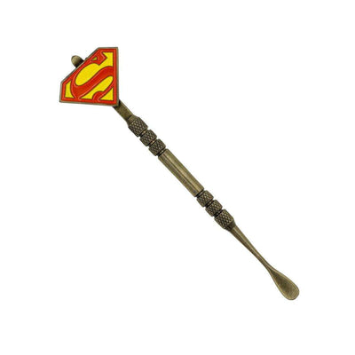 Handy stainless steel dab tool smoking accessory textured middle part for easy grip Superman logo S design on handle