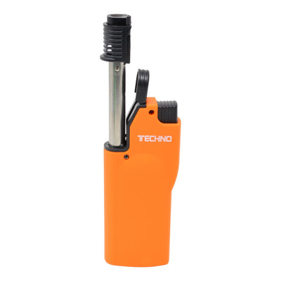 Full shot of opened orange flip top torch smoking accessory with white Techno word in front