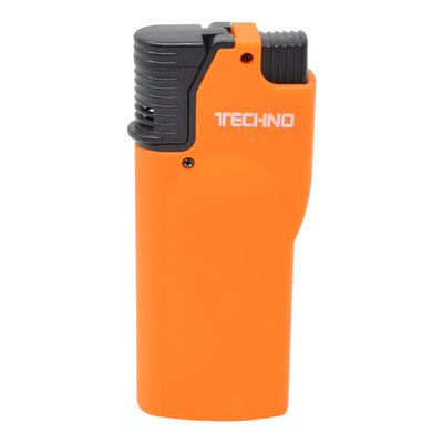 Full shot of closed orange flip top torch smoking accessory with white Techno word in front