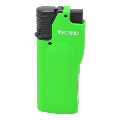 Full shot of closed green flip top torch smoking accessory with white Techno word in front