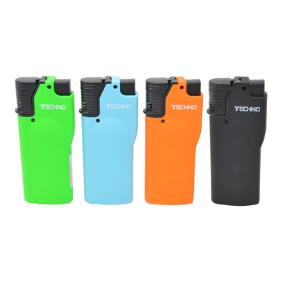 Full front shot of 4 Techno flip top torch smoking accessory in green, blue, orange and black colors