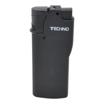Full shot of closed black flip top torch smoking accessory with white Techno word in front