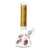 Full shot 14 inch glass beaker bong gold neck purple skull designs on neck and chamber bowl on right opening slightly visible