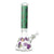 Full shot of a cute 14 inch glass beaker bong with green neck and purple skull designs on neck and chamber with bowl on right