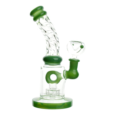 Full shot of 8 inch bong with green accents donut perc neck with twisting design mouthpiece facing left