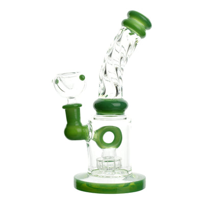 Full shot of 8 inch bong with green accents donut perc neck with twisting design mouthpiece facing right