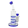 8 inch glass triple perc bong with bent neck blue accents and blue bowl on right mouthpiece on right slightly front