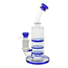 Full shot of 8 inch glass triple perc bong with bent neck blue accents and blue bowl on left mouthpiece on right