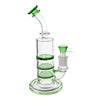 Full shot of 8 inch glass triple perc bong with bent neck green accents and green bowl on right mouthpiece on left