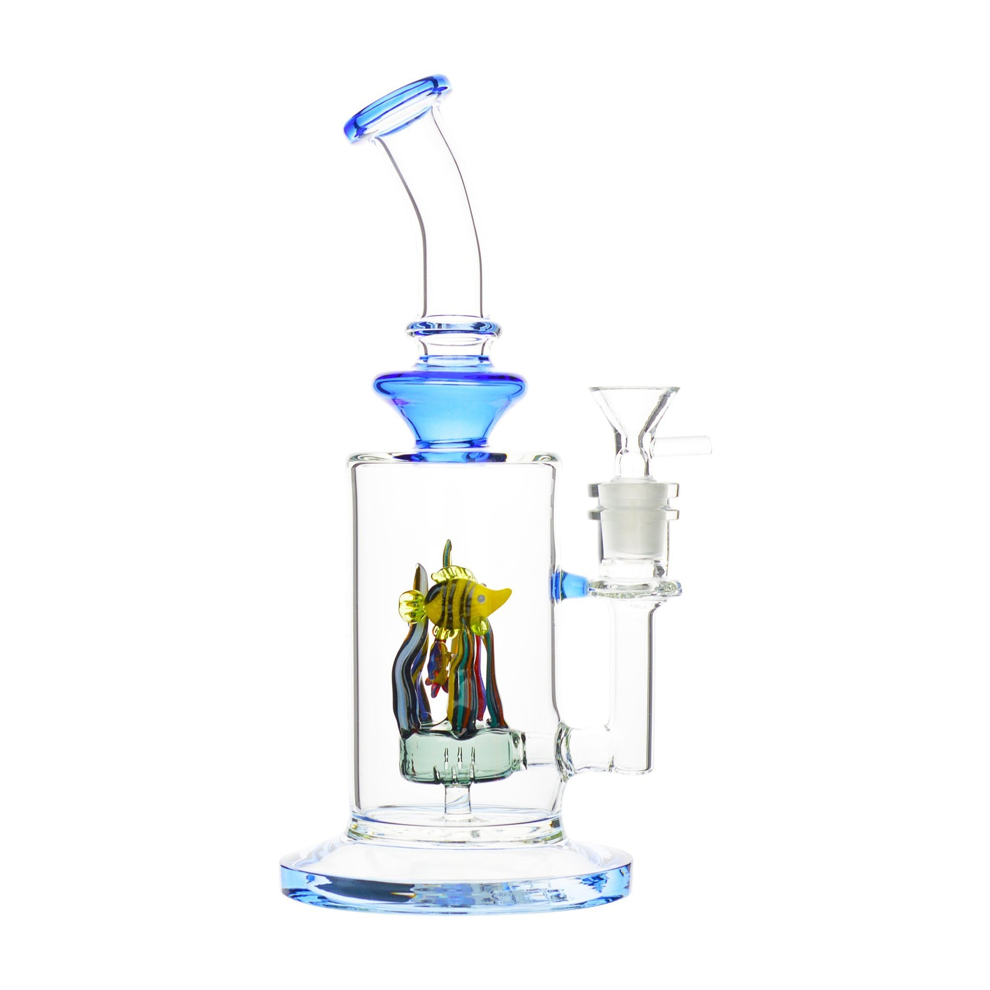 9.5-inch clear glass bong smoking device splash guards cone bowl with handle fish figures inside an aquarium look