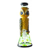 14 inch beaker bong yellow owl blue eyes design on neck yellow and green floral design on chamber bowl in front black accents
