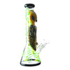 14 inch beaker bong yellow owl blue eyes on neck facing right yellow green floral design chamber bowl on right black accents