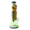 14 inch beaker bong yellow owl blue eyes facing right slightly front yellow green floral design bowl on right black accents