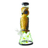 14 inch beaker bong yellow owl blue eyes facing left slightly front yellow green floral design bowl on left black accents