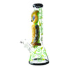 14 inch beaker bong yellow owl blue eyes on neck facing left yellow green floral design chamber bowl on left black accents