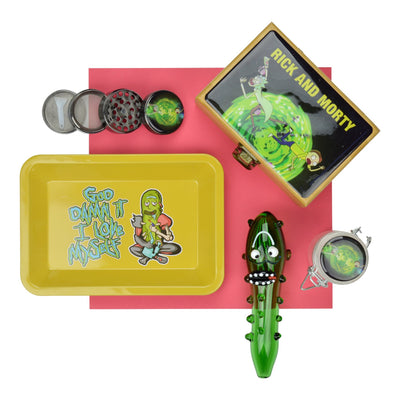 Set of smoking device accessories pickle glass pipe, tray, grinder, case in Rick and Morty and Pickle designs