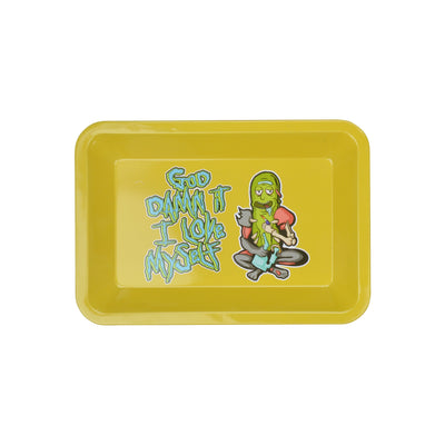 Yellow rectangle rolling tray with God damn i love myself words on the left of pickle rick person drawing