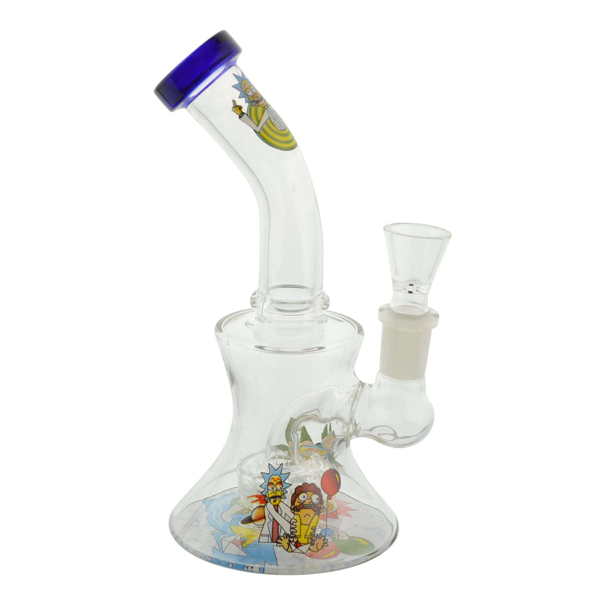 7 inch bong smoking device wide base Rick and Morty design on chamber and on bent neck blue mouthpiece on left bowl on right