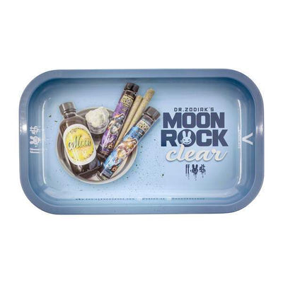 Dr. Zodiak-themed Moon Rock rolling trays with weed leaves and rolling paper cool designs
