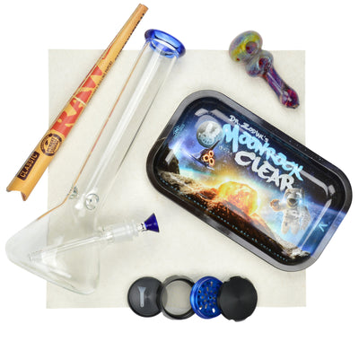 Space inspired set of colored tip beaker bong, colorful pipe, dr. zodiak moonrock rolling tray, grinder, RAW cone papers