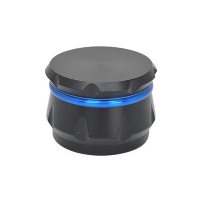 62-mm 4-part grinder smoking accessory with kiefcatcher and glossy blue and black exterior sleek design
