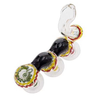 6-inch triple chambered glass bubbler smoking device in funky rasta design and colors amazing shape