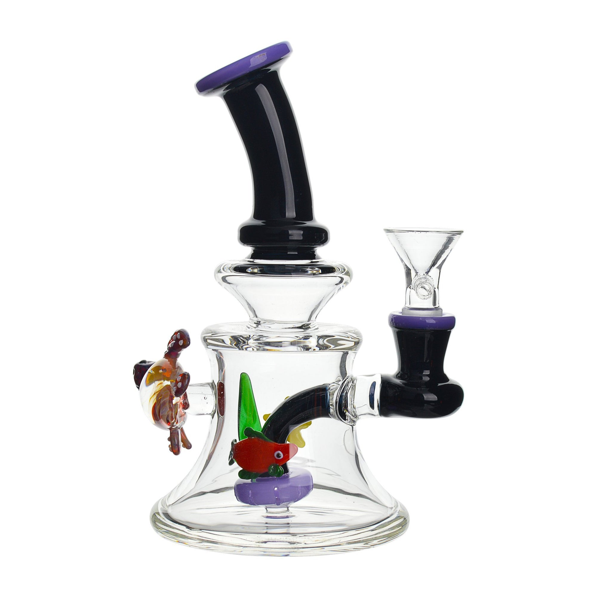 7-inch clear glass bong smoking device built-in ash catcher colorful fish 2 turtle figures inside an aquarium look