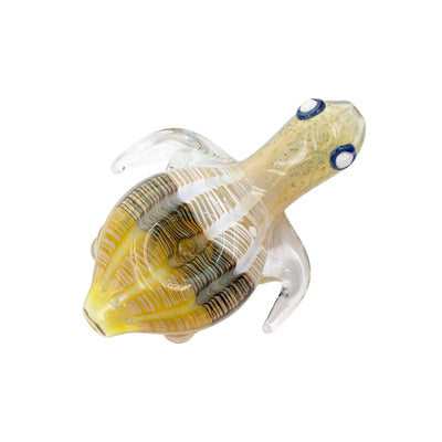 4.5-inch glass hand pipe smoking device with look and shape of a turtle and cute swirl texture