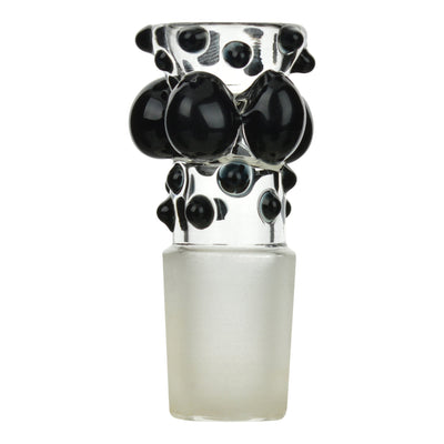 Full shot of 18mm glass bowl bong part with joint with big and small black dots