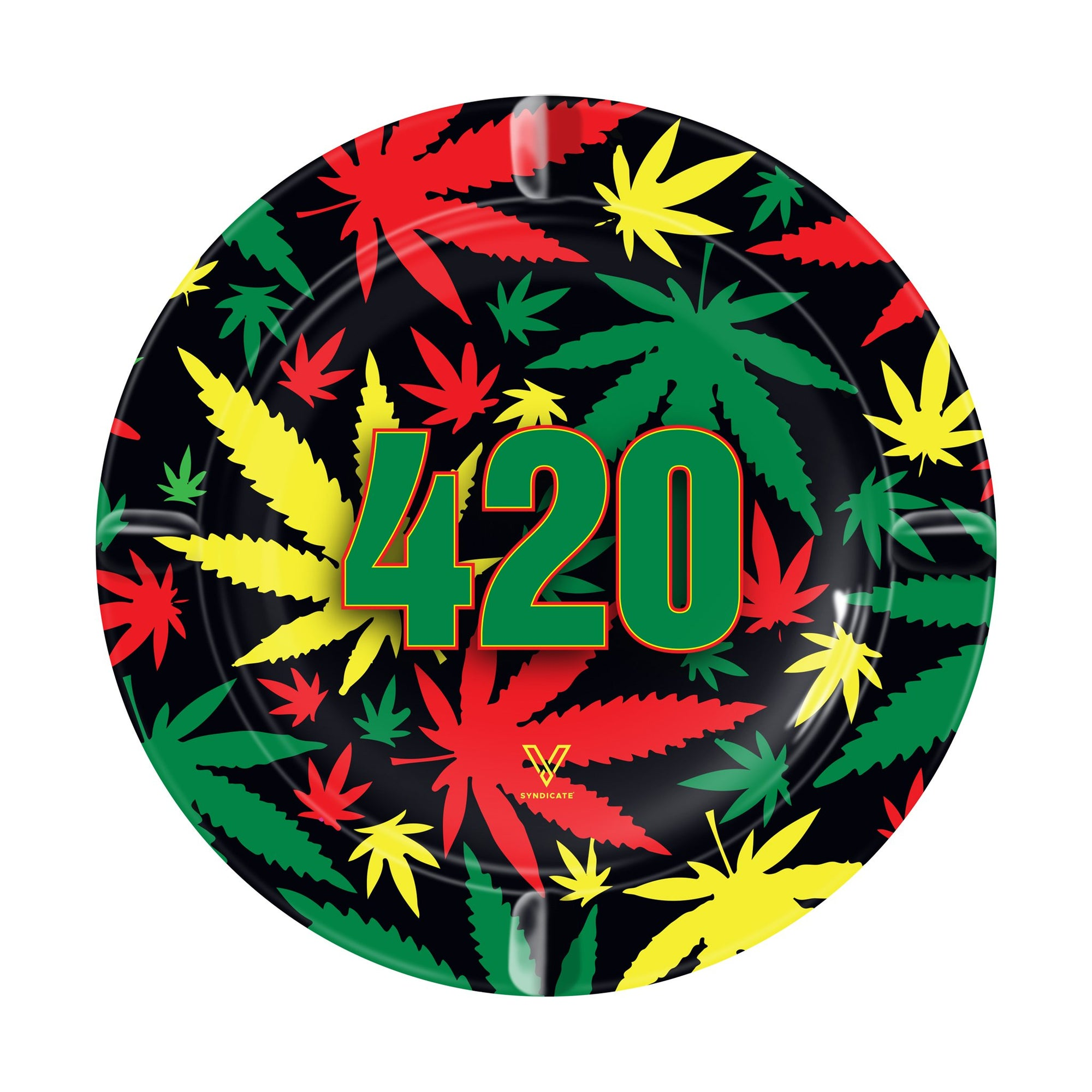 Upright shot 5 inch V Syndicate round metal ashtray rasta green yellow orange weed leaves design black background 420 center