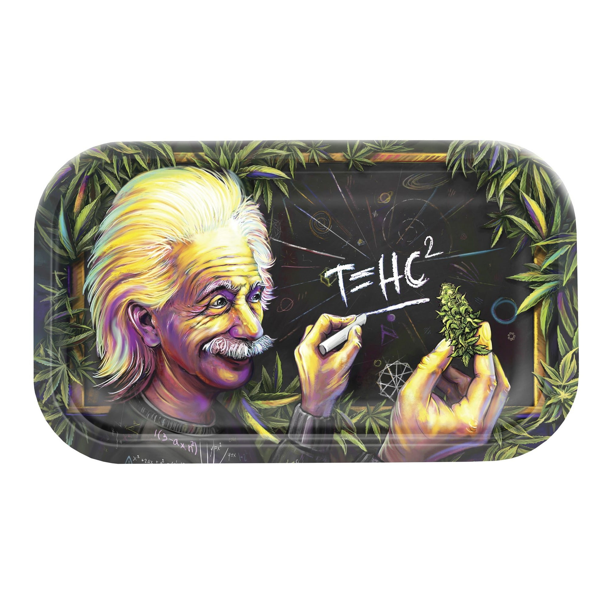 V Syndicate 11 inch metal rolling tray Einstein staring on pot he holds writes T=HC2 chalk blackboard weed leaves on sides