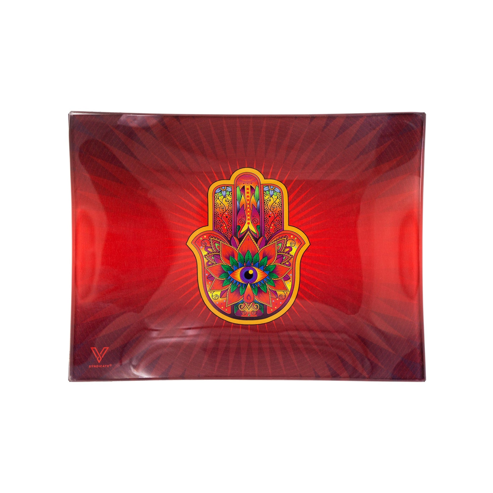 V Syndicate Red Hamsa Glass Rolling Tray - 6.5in