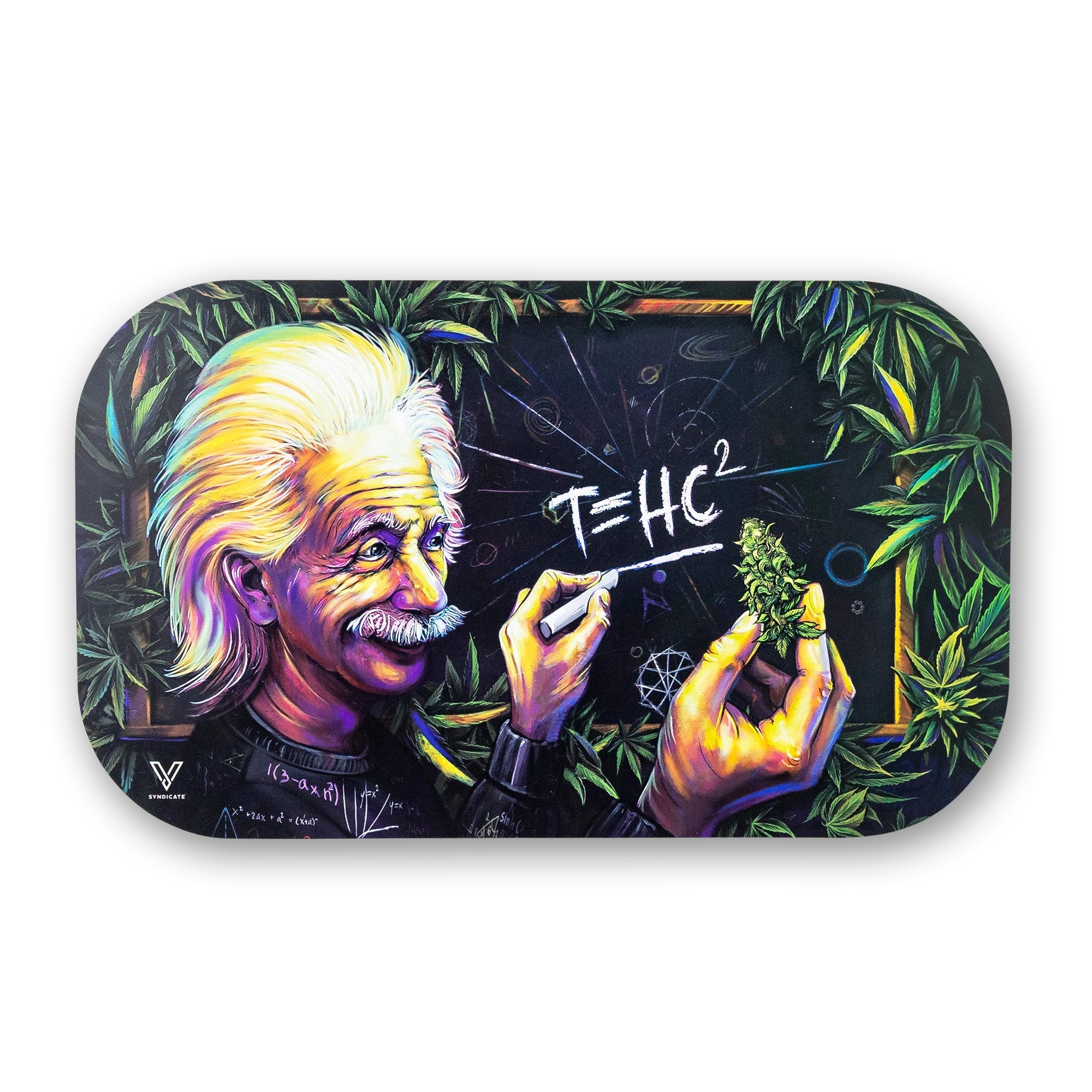 11 inch mag slap in Albert Einstein holding cannabis writing T=HC2 with chalk design cannabis leaves as border