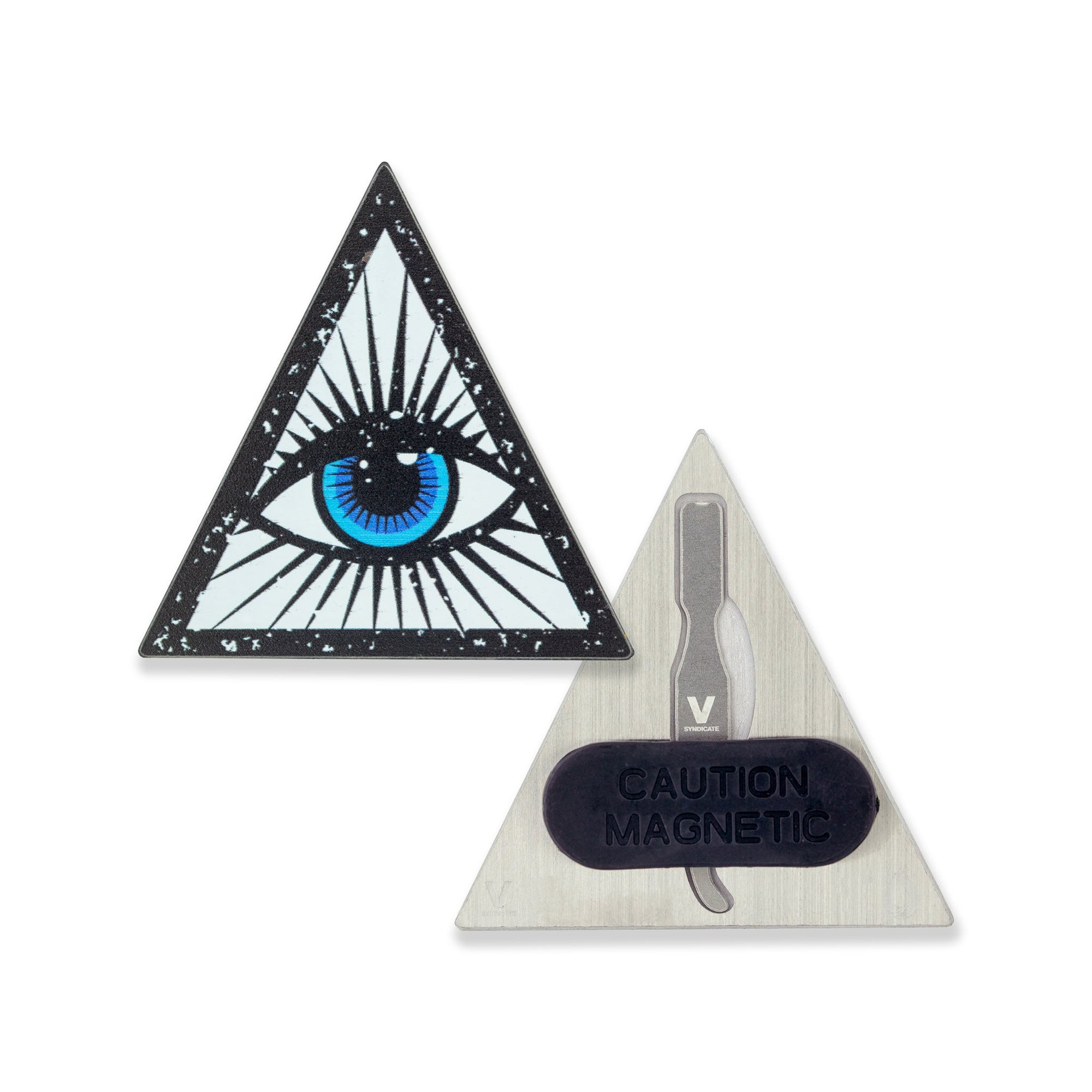 2 inch V Syndicate Wisdom Eye Dabit Hat Pin blue eye inside a triangle design on left back part with pin in black rubber