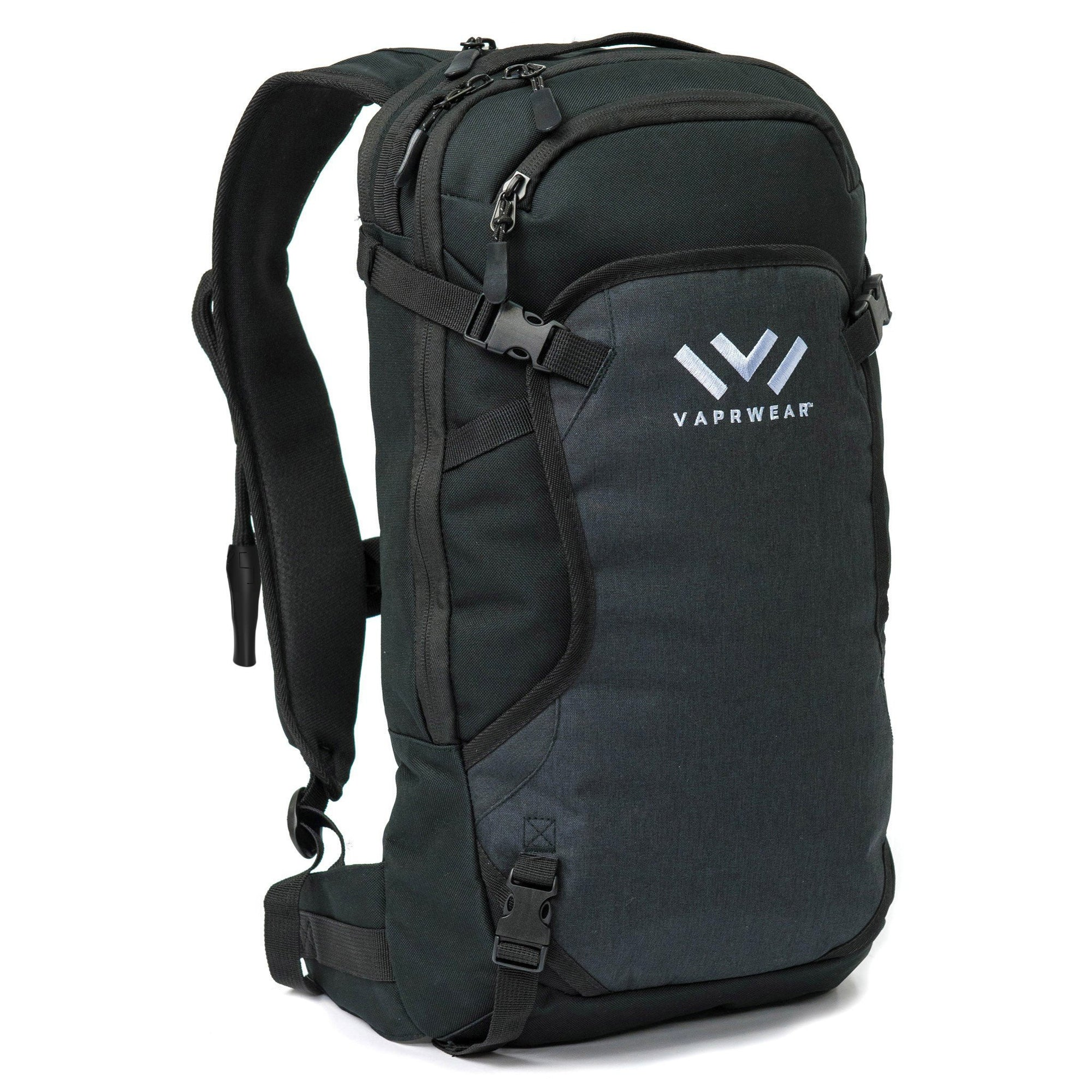 Full shot of black backpack facing slightly right with white Vaprwear word and logo in front