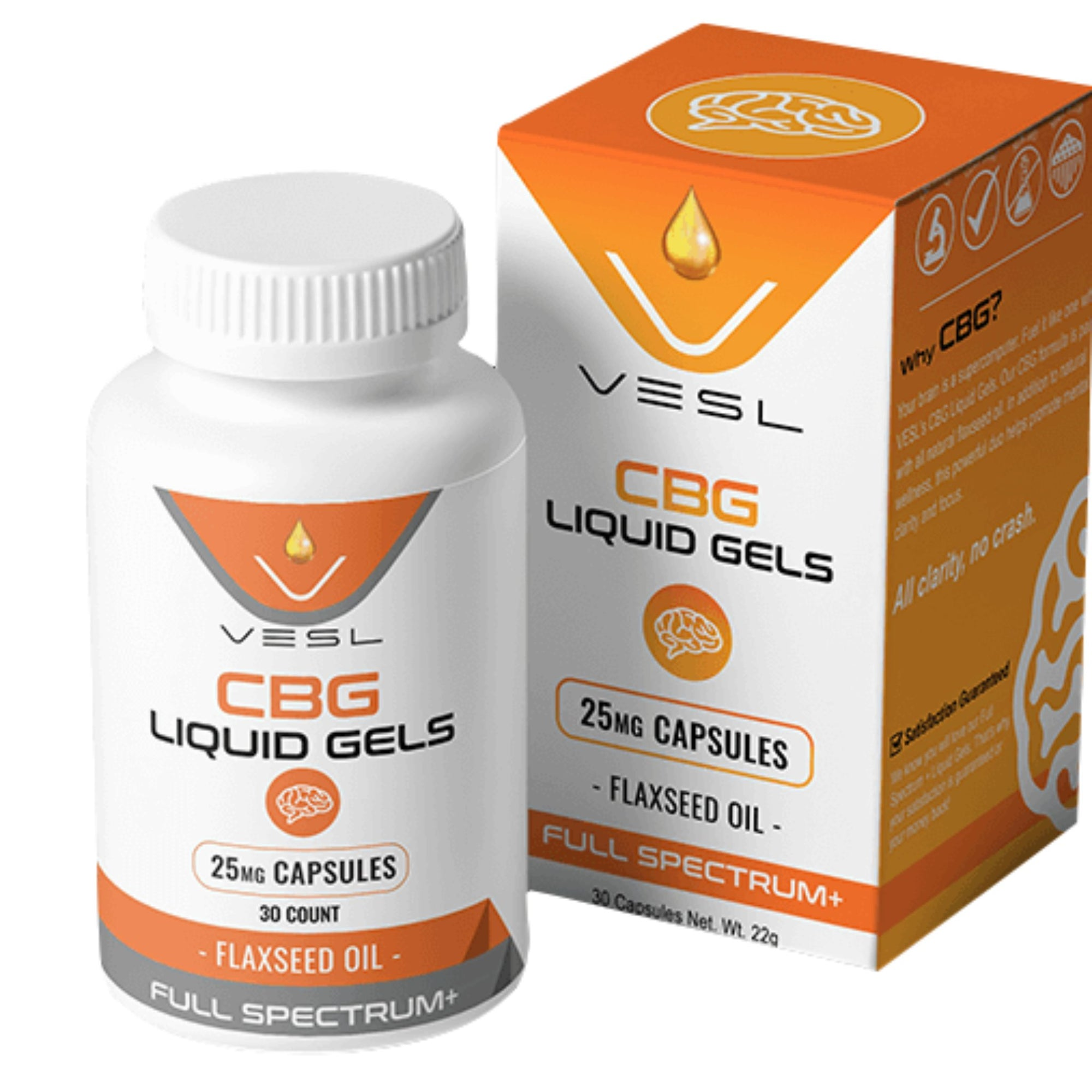 White container orange and gray design wordings of 750mg Vesl Oils CBG Flaxseed Capsules orange and white box on right