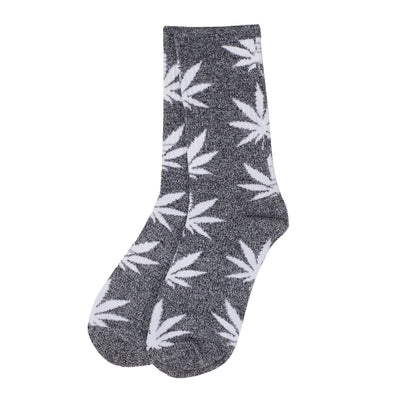 A pair of colorful adult socks footwear with funky Grey Scale weed leaf design
