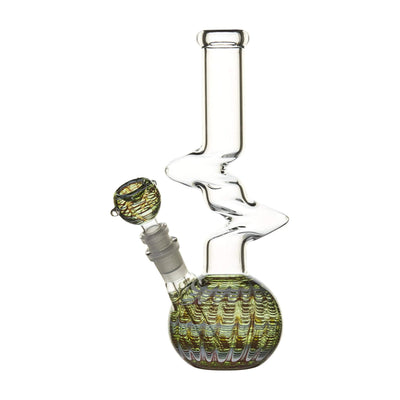10-inch zong-style glass bong smoking device with kinky shape psychedelic design protruding Z shape