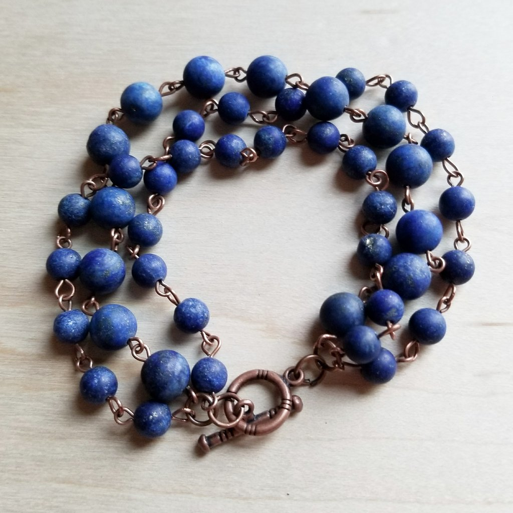 Frosted Blue Lapis Triple Strand Bracelet - The Desert Paintbrush