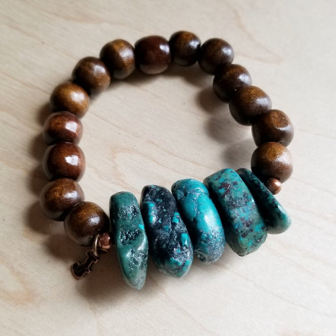 Natural Turquoise and Wood Bracelet - The Desert Paintbrush