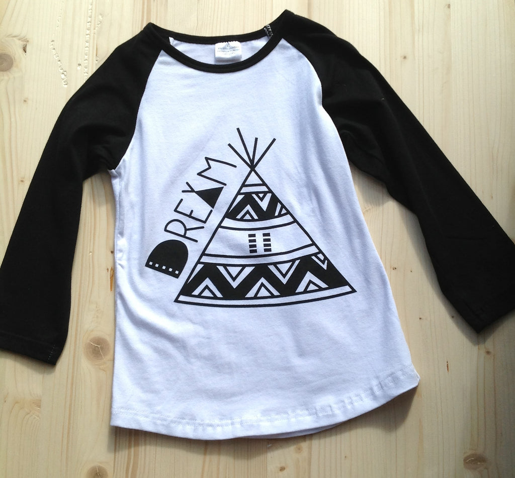 """Dreamy TeePee"" Baseball T - The Desert Paintbrush"