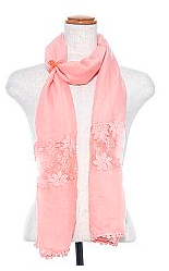 Pink Floral Lace Crochet Scarf - The Desert Paintbrush