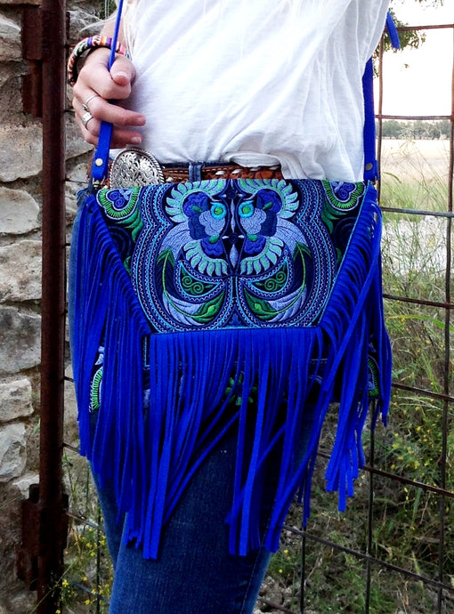 Royal Blue Bird Purse - The Desert Paintbrush