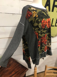 Camo & Floral Sweater - The Desert Paintbrush