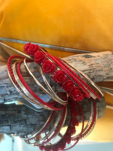 Red Rose Multi Strand Bracelet - The Desert Paintbrush
