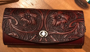 Tooled leather clutch - The Desert Paintbrush