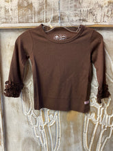 Brown top with ruffle sleeve cuffs